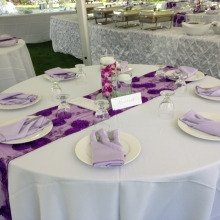 Purple Mesh Table Runner with White Polyester Linen